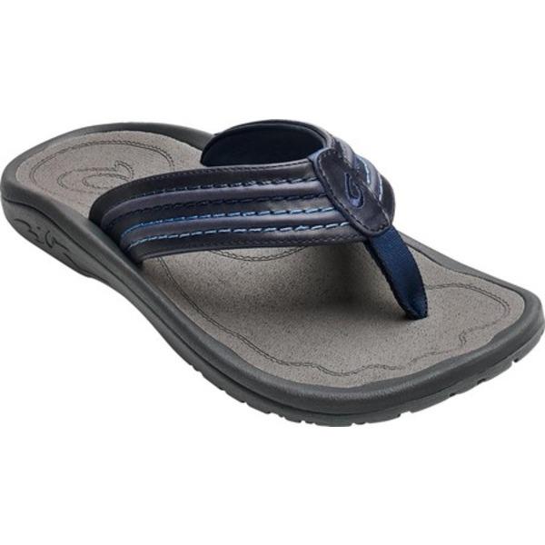 オルカイ メンズ スニーカー シューズ Hokua 'Ale Flip Flop Navy/Charcoal Full Grain Leather