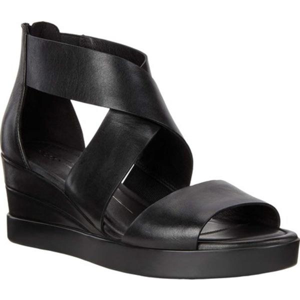 エコー レディース サンダル シューズ Elevate Wedge Ankle Strap Sandal Black Full Grain Leather
