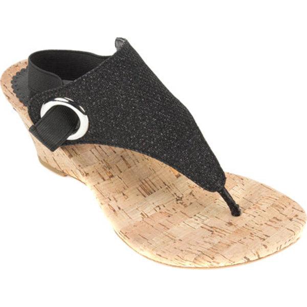 ホワイトマウンテン レディース サンダル シューズ Aida Thong Wedge Sandal Black Glitter Synthetic