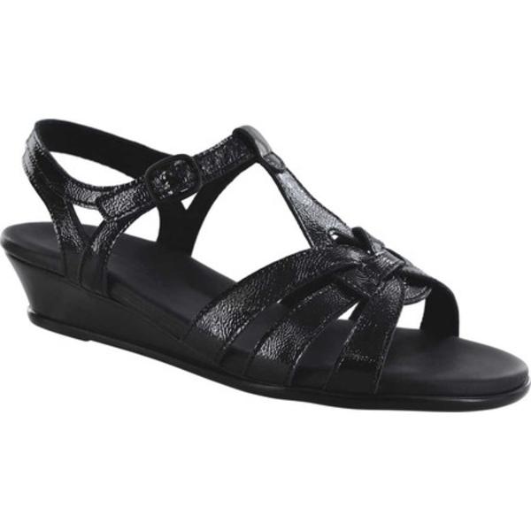 エスエーエス レディース サンダル シューズ Aurora Wedge T Strap Sandal Carbon Leather