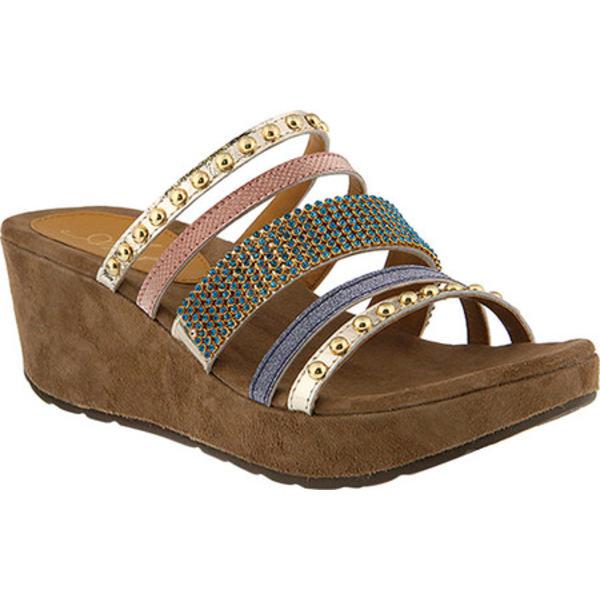 アズーラ レディース オックスフォード シューズ Oletha Ornamented Slide Sandal Gold Multi Leather
