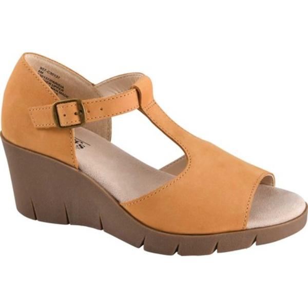 クリフバイホワイトマウンテン レディース サンダル シューズ Parisia Wedge T Strap Sandal Wheat Smooth Nubuck Leather