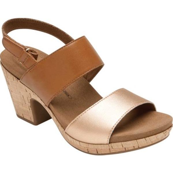 ロックポート レディース サンダル シューズ Vivianne Two Band Heeled Sandal Tan Leather
