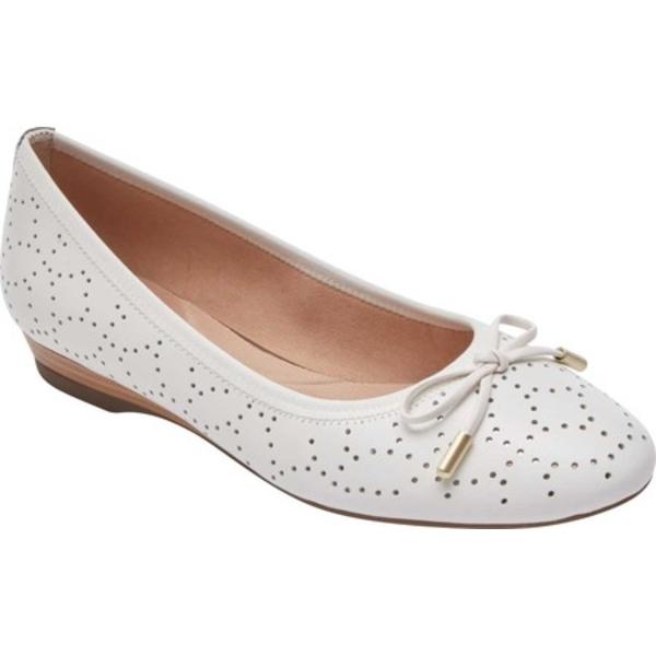 ロックポート レディース サンダル シューズ Total Motion Shea Perforated Tie Ballet Flat White Leather