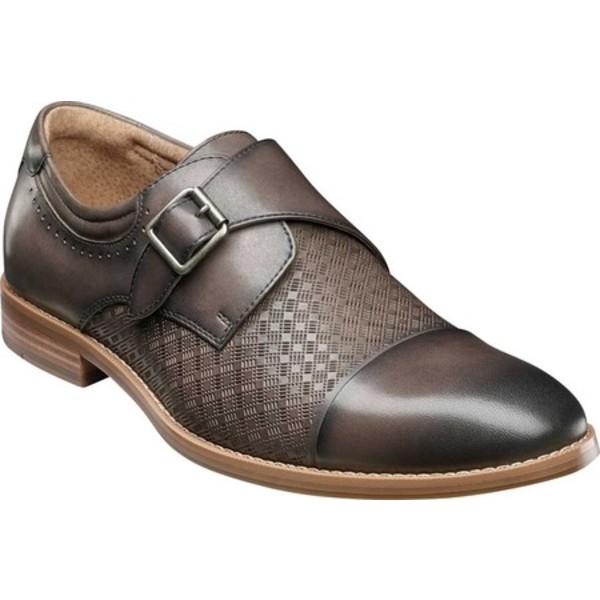 ステイシーアダムス メンズ ドレスシューズ シューズ Fenwick Cap Toe Monkstrap Gray Smooth Leather