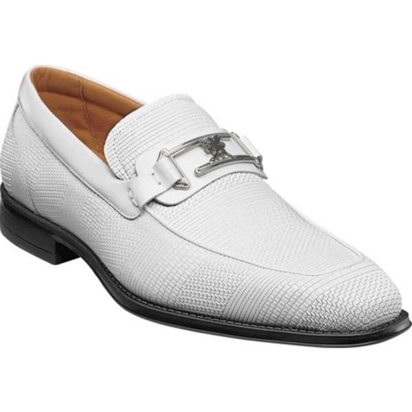 ステイシーアダムス メンズ ドレスシューズ シューズ Pomeroy Moc Toe Bit Loafer White Leather