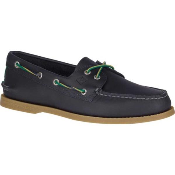 トップサイダー メンズ デッキシューズ シューズ Authentic Original 2-Eye Varsity Boat Shoe Navy Leather