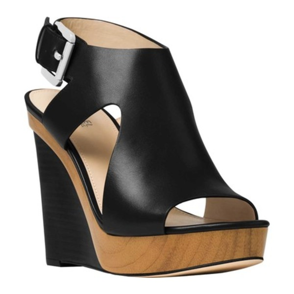 マイケルコース レディース サンダル シューズ Josephine Platform Wedge Sandal Black Cow Leather