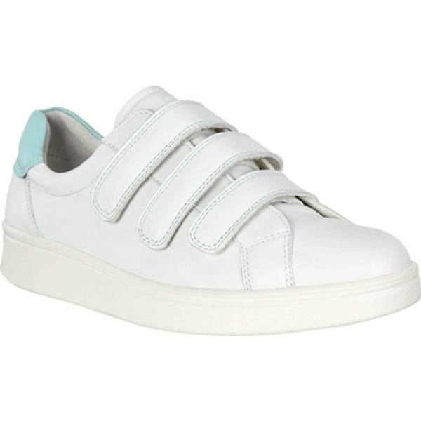 エコー レディース スニーカー シューズ Soft 4 Three Strap Sneaker White/Eggshell Blue Full Grain Leather