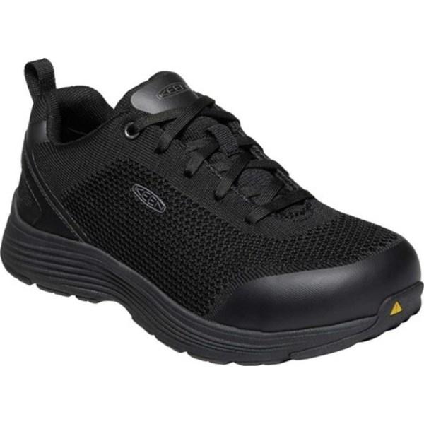 キーン レディース スニーカー シューズ Sparta Aluminum Toe Work Shoe Black/Black Knit