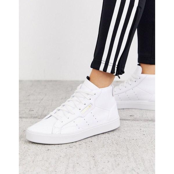 アディダスオリジナルス レディース スニーカー シューズ adidas Originals Sleek Mid Top sneakers in white and gray White