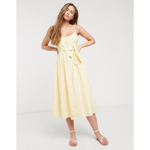 エイソス レディース ワンピース トップス ASOS DESIGN soft denim midi dress in yellow Yellow