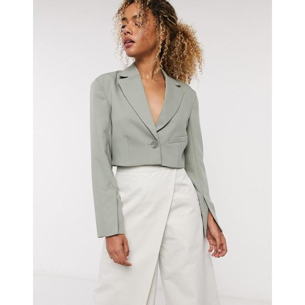 ウィークデイ レディース ジャケット&ブルゾン アウター Weekday Dominique cropped blazer in khaki Khaki green