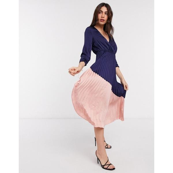 リクオリッシュ レディース ワンピース トップス Liquorish color block dress with pleated skirt in navy and pink Navy and pink