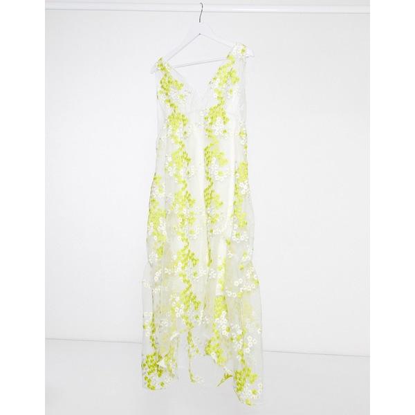 ロストインク レディース ワンピース トップス Lost Ink midaxi dress with frill hem in floral embroidered organza Yellow