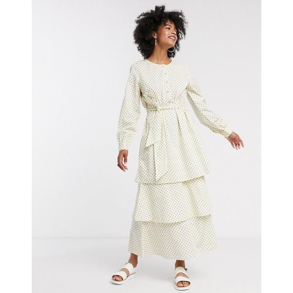 セレクティッド レディース ワンピース トップス Selected Femme tiered maxi dress in polka dot Multi