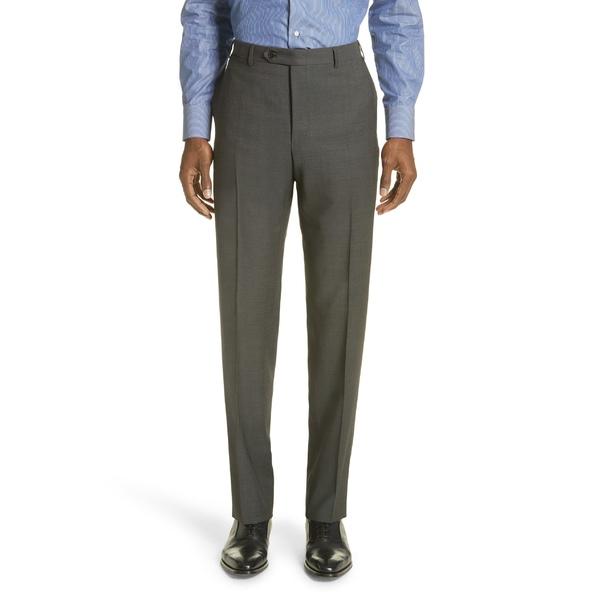 カナーリ メンズ カジュアルパンツ ボトムス Canali Flat Front Dot Wool Dress Pants Dark Grey
