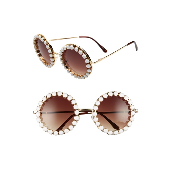ラッドプラスリファインド レディース サングラス&アイウェア アクセサリー Rad + Refined Rhinestone Round Sunglasses Gold/ White