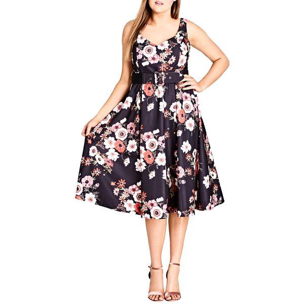 シティーシック レディース ワンピース トップス City Chic Poppy Bloom Fit & Flare Dress (Plus Size) Black