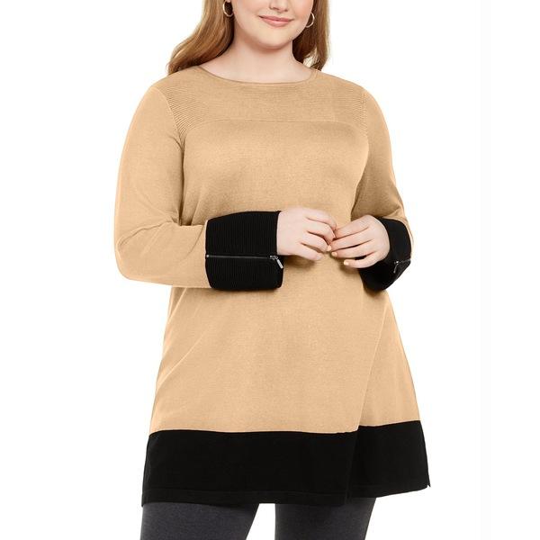 Plus Sweater, Ottoman Tunic Syrup/Black Size Caramel Colorblocked ニット&セーター レディース アウター アルファニ