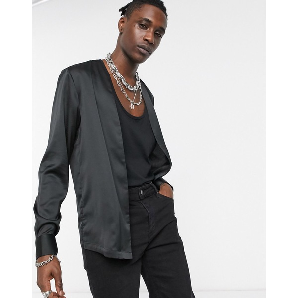 エイソス メンズ シャツ トップス ASOS DESIGN regular fit open v neck satin shirt in black Black