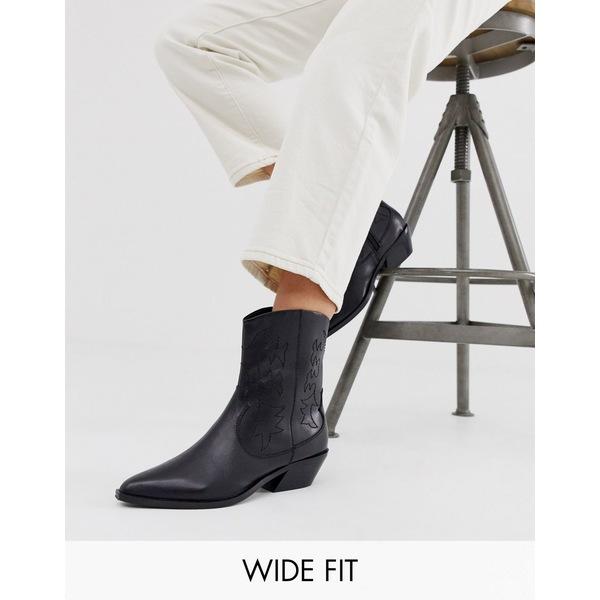 エイソス レディース ブーツ&レインブーツ シューズ ASOS DESIGN Wide Fit Autumnal leather cowboy boots in black Black leather