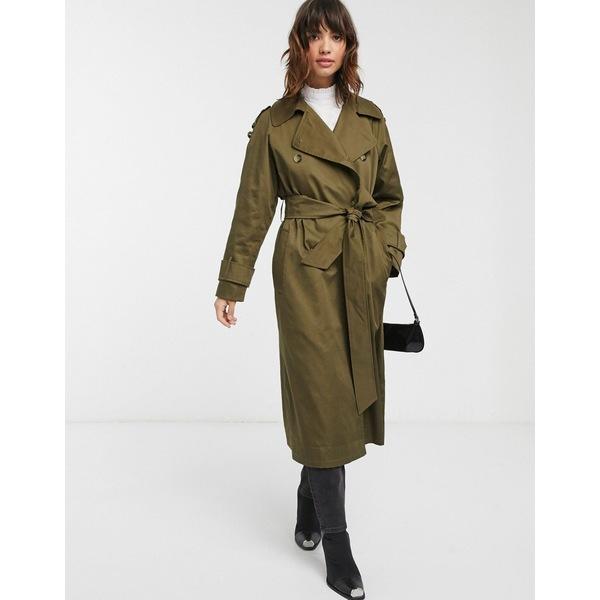 エイソス レディース コート アウター ASOS DESIGN longline trench coat in khaki Khaki