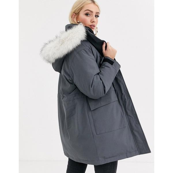 エイソス レディース コート アウター ASOS DESIGN padded parka with faux fur hood in gray Gray