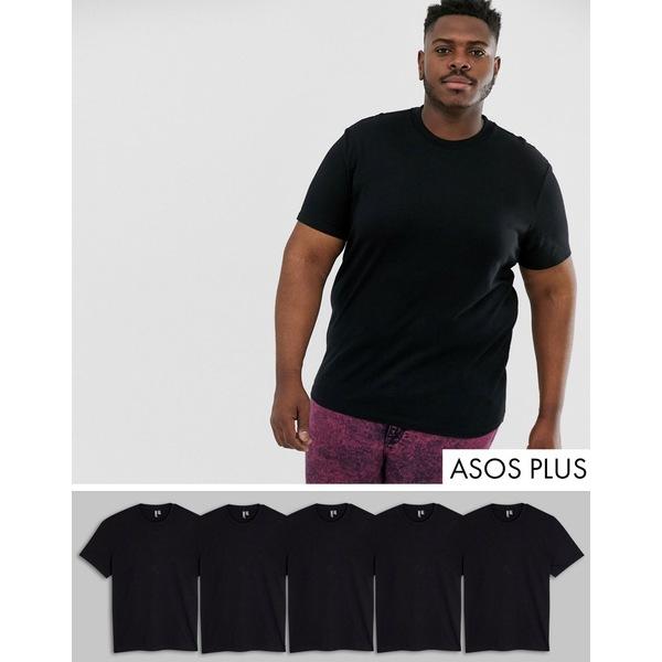 エイソス メンズ Tシャツ トップス ASOS DESIGN Plus 5 pack organic t-shirt with crew neck save Black