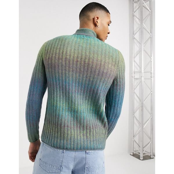 エイソス メンズ ニット&セーター アウター ASOS DESIGN knitted rib turtleneck sweater in space dye yarn Gray