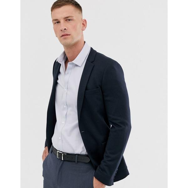 エイソス メンズ ジャケット&ブルゾン アウター ASOS DESIGN super skinny jersey blazer in navy Navy