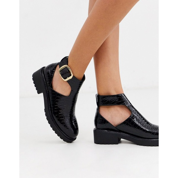 ロンドンレベル レディース ブーツ&レインブーツ シューズ London Rebel cut out flat chunky ankle boots in black croc Black croc
