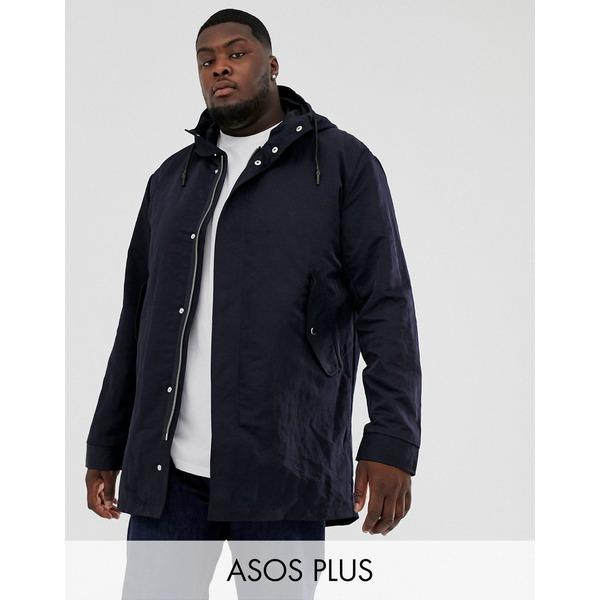 エイソス メンズ ジャケット&ブルゾン アウター ASOS DESIGN Plus parka jacket with detachable vest liner in navy Navy