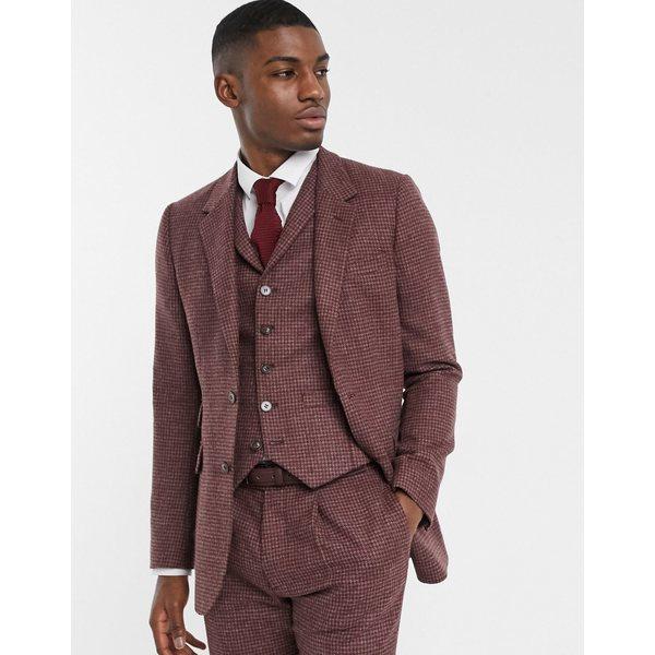 エイソス メンズ ジャケット&ブルゾン アウター ASOS DESIGN slim suit jacket in burgundy and gray 100% lambswool puppytooth Burgundy