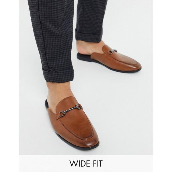 エイソス メンズ スリッポン・ローファー シューズ ASOS DESIGN Wide Fit backless mule loafer in tan faux leather Tan