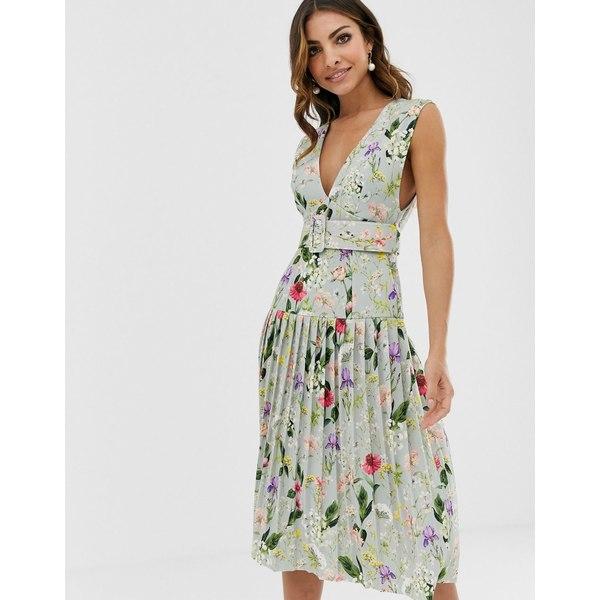エイソス レディース ワンピース トップス ASOS DESIGN botanical floral plunge belted pleated midi dress Multi