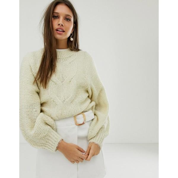 エイソス レディース ニット&セーター アウター ASOS DESIGN cable sweater in lofty yarn with volume sleeve Cream