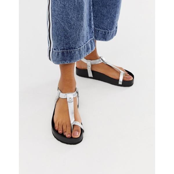 エイソス レディース サンダル シューズ ASOS DESIGN Filmore premium leather minimal footbed toe loop sandals Silver