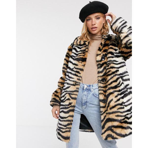 エイソス レディース コート アウター ASOS DESIGN tiger faux fur button through coat Multi