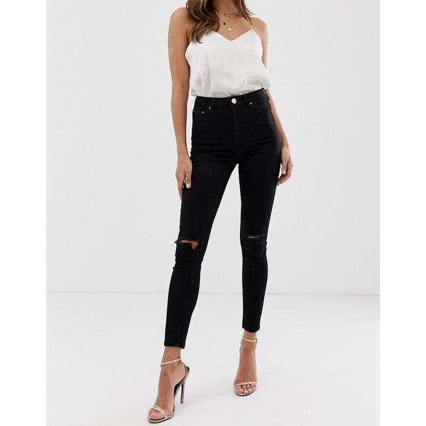 エイソス レディース デニムパンツ ボトムス ASOS DESIGN Ridley high waisted skinny jeans in clean black with ripped knees Black