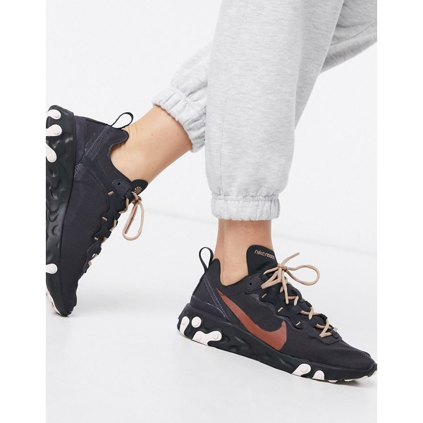 ナイキ レディース スニーカー シューズ Nike black Glitter React Element 55 sneakers Black glitter