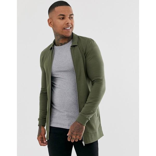 エイソス メンズ ジャケット&ブルゾン アウター ASOS DESIGN muscle longline jersey harrington jacket in khaki Kalamata