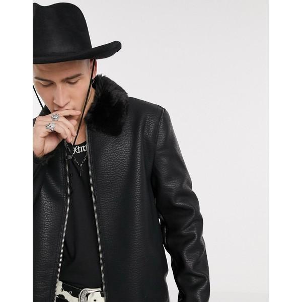 エイソス メンズ ジャケット&ブルゾン アウター ASOS DESIGN jacket with faux fur lining in black Black