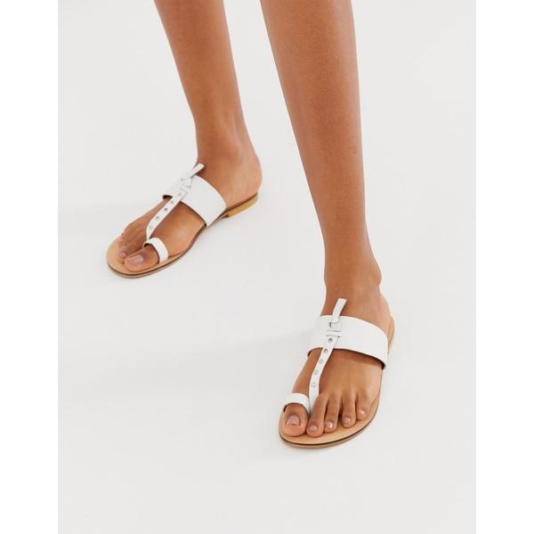 エイソス レディース サンダル シューズ ASOS DESIGN Fellowship studded leather toe loop mules White