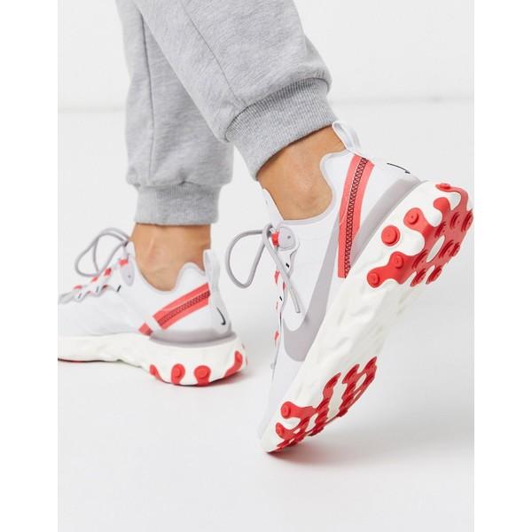 ナイキ レディース スニーカー シューズ Nike React Element silver and Red sneakers Silver
