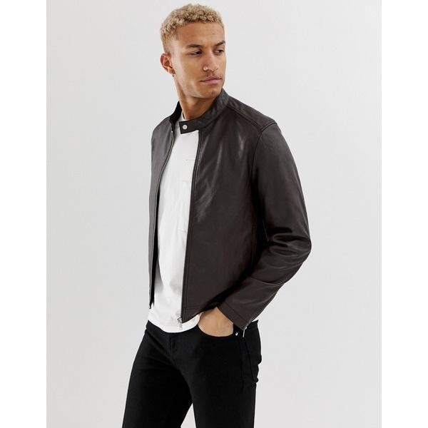 エイソス メンズ ジャケット&ブルゾン アウター ASOS DESIGN leather racing biker jacket in brown Brown