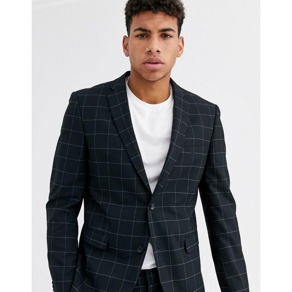 エスプリ メンズ ジャケット&ブルゾン アウター Esprit slim fit suit jacket in navy windowpane check Navy