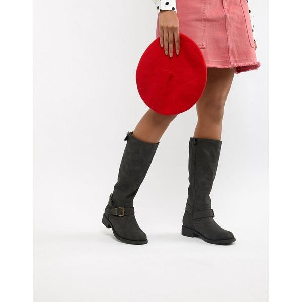 オフィス レディース ブーツ&レインブーツ シューズ Office Flat Knee Boots Black tumbled pu
