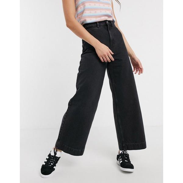 エイソス レディース デニムパンツ ボトムス ASOS DESIGN High rise 'easy' wide leg jeans in black Washed black