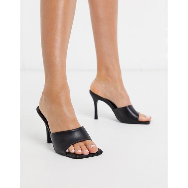パブリックデザイア レディース サンダル シューズ Public Desire Harlow square toe mule sandal in black Black pu